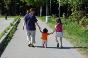 walking & exercising with kids